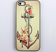 Retro Anker en Flower Pattern Aluminium Hard Case voor iPhone 4/4S