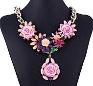 Fashion Diamante (Blume) Goldene Legierungs-Anhänger-Halskette (Schwarz, Pink, Dunkelgrün) (1 PC)
