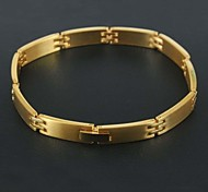 Classic Smooth and Shinning 316L Stainless Steel Gold Plated Bracelets