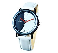 Women`s Trendy Simple Black-White Dial PU Band Quartz Dress Watch (Assorted Colors)