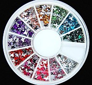 600PCS 12Colours Butterfly Shape Acrylic Rhinestones Wheel Nail Art Decoration