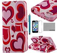 Coração Padrão Vermelho COCO FUN ® PU Leather Case Full Body com Filme, Stand e Stylus para iPhone 5/5S
