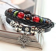 Unisex's Life Tree Colorful Beads Leather Braided Bracelets