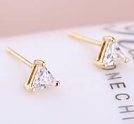 Women's New Fashion 18K Gold Plated  Simple Triangle Design Zircon Earrings ERZ0433