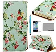 COCO ® FUN Flor Verde Padrão PU Leather Case Full Body com Filme, Stand e Stylus para iPhone 5/5S