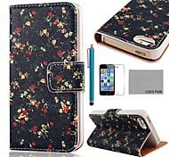 COCO ® FUN Flor Black Pattern PU Leather Case Full Body com Filme, Stand e Stylus para iPhone 5/5S