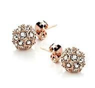 18K plaqué or rose Ear Studs éblouissant brillant Autriche d'oreilles en cristal de boule