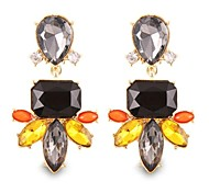 (1 Pair)Vintage (Black Crystal) as Picture Alloy Drop Earrings