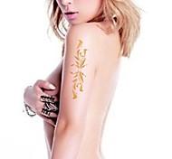 2pcs mañana gloria brillo del oro pegatinas tatuaje tatuajes temporales