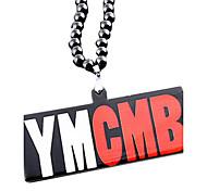 Mode übertrieben euramerican ymcmb Anhänger schwarzer Acryl Halskette (1 PC)