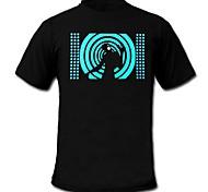 Tee-shirts LED Lampes LED activées par le son Coton XS S M L XL XXL Nouveauté Noir 2 Piles AAA