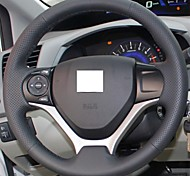 XuJi ™ Black Genuine Leather Steering Wheel Cover for Honda Civic 2012 2013 2014 Civic 9