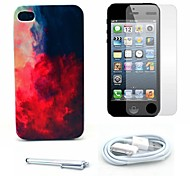 Fire Cloud Pattern Hard Case and Screen Protector and Stylus and Cable for iPhone 4/4S