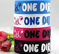 Lureme®ONE DIRECTION Silicone Wide Bracelet(Random Color)