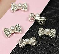 10pcs 3d perle noeud papillon avec dos creux accessoires alliage d'ongles nail art décoration