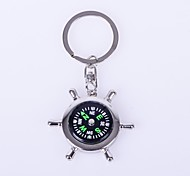 The Sun Compass Shape Metal Silver Keychain Toys