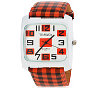 Women's Square Dial Plaid PU Band Quartz Wrist Watch (Assorted Colors) Cool Watches Unique Watches Fashion Watch