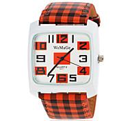 Damen Modeuhr Quartz PU Band Streifen Orange / Grün Marke-