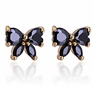 Women New Style Black Butterfly Design Inlaid Zircon Stud Earrings