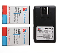Link Dream 2 x Cell Phone Battery+Charger  for  LG P970 MS840 L5 25001  (2500 mAh)