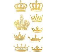 2pcs corona brillo del oro pegatinas tatuaje tatuajes temporales