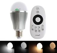 zweihnder e27 9w 850lm 2700-6500K 2.4ghz transmissão rf lâmpada led luz quente / branco com controle remoto (AC 85-265V)