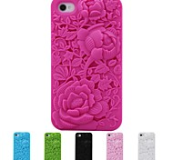 3D Rose Carving Pattern Silicon Rubber Case for iPhone 4/4s (Assorted Colors)