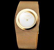 Frauen anmutige Goldstahlband Quarz-Armbanduhr