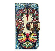 Lion Pattern PU Leather Full Body Cover with Card Slot for iPhone 6