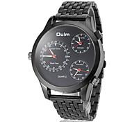 Männer drei Zeitzone schwarz Stahlband-Quarz-Armbanduhr