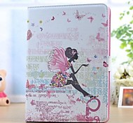 The Butterfly Girl Pattern and Set Auger PU Leather Full Body Case with Stand for iPad Air