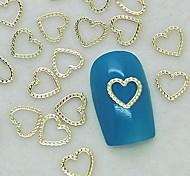 200шт уникальный дизайн сердце кружева золотой металл ломтик ногтей украшения