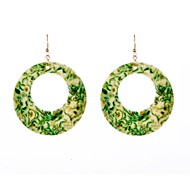 Flora Print Circle Drop Earrings