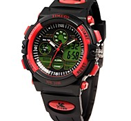 Time100 Children's Multifunctional LCD Dual Display Sport Round Dial PU Strap Digital Watch