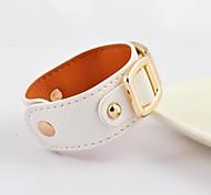 Vintage Women's Gold Titanium Steel Buckle Real Leather Bracelets