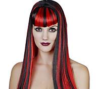 partido rainha fibra sintética reta longa peruca do partido do dia das bruxas das mulheres de cabelo