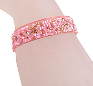 Adjustable Pink Fabric Tennis Bracelet
