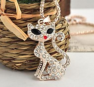Lureme®Flash Stereo Long Tailed Fox  Pendant Necklace