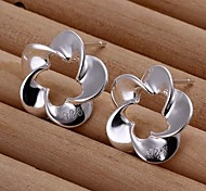Fashion Flower Silver Silver-Plated Stud Earrings(Silver)(1Pair)