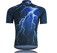XINTOWN Men 's Lightning Breathable Polyester Short Sleeve Cycling Jersey—Blue+Black