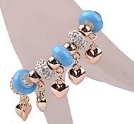 Blue Beads Heart Charm Bracelet