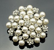 Round Alloy and Clear Rhinestone Imitation Pearl Flower Brooch Pin for Wedding
