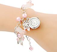 Mujer Reloj de Moda Reloj Pulsera Cuarzo Banda Perlas Rosa Rosa