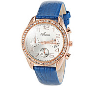 Women's Fashion Diamond Three Eyes Design Leather Band Quartz Wrist Watch (Assorted Colors)