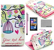 COCO FUN® Lovely Birdcage Pattern PU Leather Full Body Case with Screen Protector, Stylus and Stand for Nokia Lumia N520