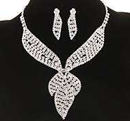 Classic Diamanted Leaf Shape Silver Jewelry Set(Necklace&Earrings)(1 Set)