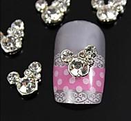 10pcs rhinestone милые мыши 3d DIY сплава аксессуары украшения для ногтей