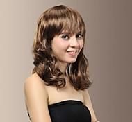 Sweet Lady Medium Length Wavy Full Bangs Hair Wigs