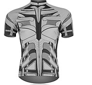 XINTOWN  Men 's Bat Breathable Polyester Short Sleeve Cycling Jersey -Grey+Black