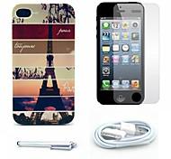 caso duro del patrón de rayas de la torre Eiffel y el protector de pantalla y lápiz óptico y el cable para el iphone 4 / 4s